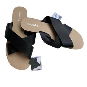Simply Be Black Sandals Size 8W Real Leather